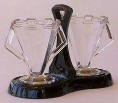Art Deco Depression Glass Sugar & Creamer Set on Black Glass Stand No Reserve