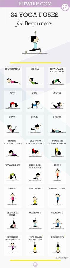24 Yoga poses for beginners. Namaste :-). #yoga #meditation #health: #YogaTipsAndMore