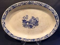 Vintage Blue Willow Oval Serving Plate