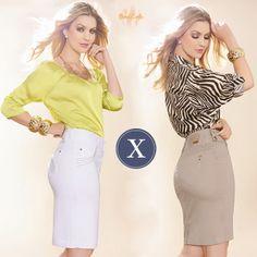 Qual dos dois looks fazem mais seu estilo? Camisa amarela com saia verde limão ou saia nude com camisa estampada?
