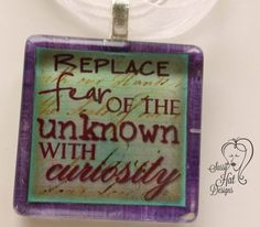 Replace Fear Glass Tile Pendant Necklace | SassyHAT-Creations - Jewelry on ArtFire $12.00