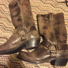 FRYE harness boots rare pattern worn only 3 times Frye Shoes Combat & Moto Boots