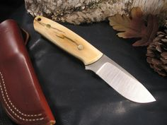 Item Condition: New Handle Material: Mammoth Ivory Blade Steel: Sheath: Leather Cool Knives, Knives And Tools, Knives And Swords, Kydex, Best Pocket Knife, Pocket Knives, Leather Pearl Necklace, Knife Patterns, Bushcraft Knives