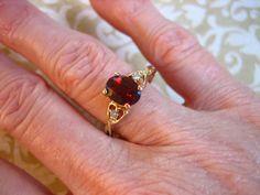 Vintage 10K Y Gold Garnet & Diamond Ring by charmingellie on Etsy, $110.00