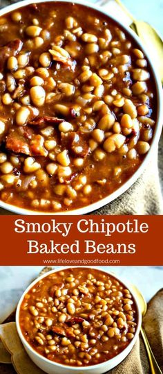 Smoky, spicy, and absolutely delicious, serve Chipotle Baked Beans at your next barbecue or picnic and kick it up a notch! Leave out the bacon for a vegetarian option. #bakedbeans #smokybakedbeans #chipotlebakedbeans