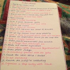 My list of 30 things to do before my 30th birthday.