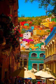 Colorful streets of Guanajuato, Mexico.