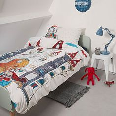 Encourage their imagination with the inspiring illustration of the Dragon Castle Quilt Cover Set from Bedding House.