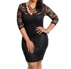 SEXY, FORMAL, PLUS SIZE, BLACK ON BLACK, LACE 3/4 SLEEVE, FITTED, BODYCON DRESS