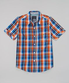 Look at this #zulilyfind! Blue & Orange Plaid Button-Up - Infant, Toddler & Boys by Nautica #zulilyfinds