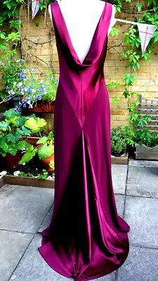 Elegant MONSOON 1920's/30's SIZE 12 plum berry LONG EVENING DRESS GOWN | eBay