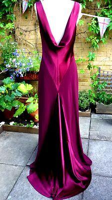 Elegant MONSOON 1920's/30's SIZE 12 plum berry LONG EVENING DRESS GOWN | eBay