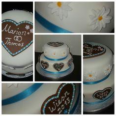 Bayrische Hochzeit Torte #weißblau#wiesnherz#edelweiss #fondant
