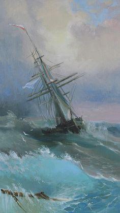 Russian Artists New Wave Painting - Stormy Sails by Ilya Kondrashov #RussianArtistsNewWave #OriginalArtForSale #OriginalPainting #IlyaKondrashov #SeaPainting #Painting