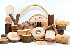 Personalized wooden toy Natural set of 75 tree building