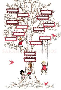 Children's family tree wall art from Sarah Jane Studios.  It is a three generation pedigree chart that you fill in.