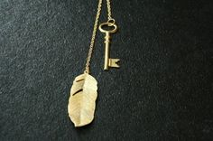 Long Lariat Necklace with Gold Feather and Key, Long Pendant Necklace, Tie, Wrap #Handmade #Locket