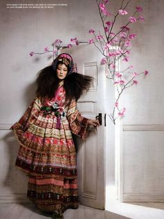 """Vogue Korea """"Fadeless Flowers"""" Model Lee Hyun Yi is dressed in the traditional Korean dress."""
