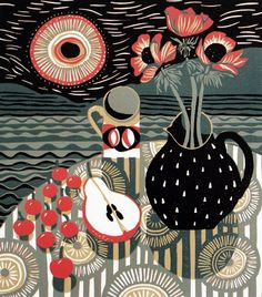 Jane Walker, linocut, table, flowers, fruit, colour, pattern, layers, illustration