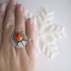 Orange sunburst chunky ring Sterling silver van applenamedD op Etsy