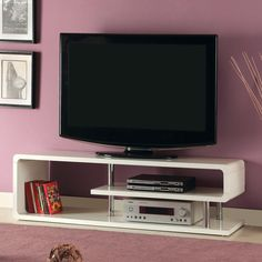 Have to have it. Furniture of America 55 in. Modern Tier Media Stand - White - $296.96 @hayneedle