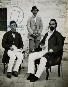 Governor of Jerusalem Sureyya Pasha with Secretary and Slave, 1850s (gelatin silver print)