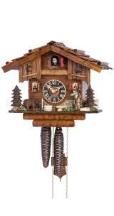 Relógio de Cuco<br>Casa da Floresta Negra com cena de floresta e caçador que se move