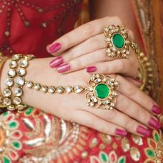 Indian Bridal Jewelry- Finger rings or 'angoothi' and haath phool