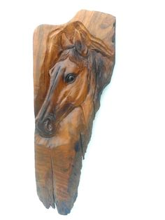 "Horse Head Wood Carving Natural Teak Wood Hand Carved Horse Head Rustic Driftwood Reclaimed Wall Hanging Home Art Decor / Gift 24""X9.5"""