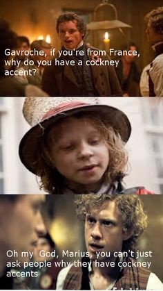 Les Miserables meets Mean Girls (and that's always a pet peeve of mine. European does NOT equal English accents! Theatre Nerds, Music Theater, Daniel Huttlestone, Les Mis Funny, Les Miserables Funny, Mean Girl 3, Memes, Cinema, Girl Humor