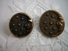 Antique Man-in-the-Moon Metal BUTTONS: Moon Stars by Buttongal