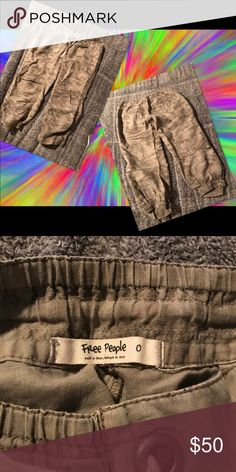 Free People bloomers size 0 Linen bloomers sooo cute! Tie dye olive and khaki. Back pockets and front pockets elastic waist. And elastic bottoms. Perfect condition! Free People Pants Capris