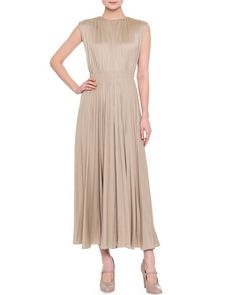 W0DQP Valentino Sleeveless Plisse Open-Back Midi Dress, Soft Beige