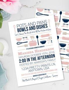 Stock the Kitchen Bridal Shower Invitation, Pots and Pans Printable Invite, Retro Bridal Shower, Blush