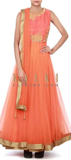 Buy Online from the link below. We ship worldwide (Free Shipping over US$100) Price-$189 Click Anywhere to Tag http://www.kalkifashion.com/orange-anarkali-suit-adorn-in-zari-and-mirror-embroidery-only-on-kalki.html