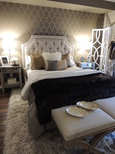 Contemporary And Moroccan Pattern Wallpaper Feat White Leather Headboard And Black Bedding Set Complete With White Hollywood Glamour Bedroomold