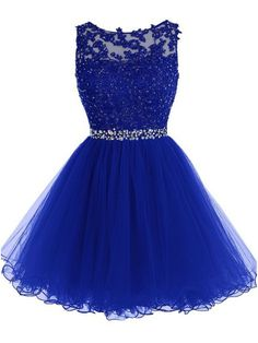 Beaded Short Royal Blue Lace Appliques Tulle Prom Evening Homecoming Cocktail Dresses 99602128