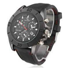 Mens New Stylish Black Silicone Sport Wrist Watch SW4 $6.99