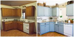 before and after blue kitchen