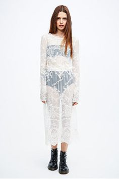 Pins & Needles Drawstring Lace Midi Dress in Ivory