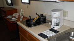 Additional kitchen amenities include our dish pack ($29.99) and our coffee pot ($29.99) both yours to keep upon leaving.