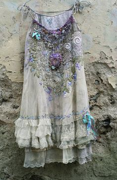 April muse----romantic embroidered and beaded top/tunic, antique and vintage laces, shabby chic,  textil art collage