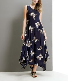 Loving this Navy Butterfly Handkerchief Maxi Dress on #zulily! #zulilyfinds