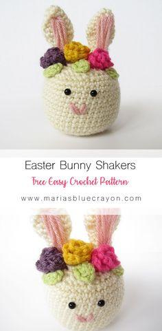 Easter Bunny Shaker | Free Crochet Pattern | Bunny with Flower Crown Crochet Amigurumi | Spring Animal | Easter Basket Idea | Maria's Blue Crayon