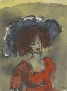 Emil Nolde (German, 1867-1956), Junge Frau mit grossem Hut [Young woman with large hat], 1910-11. Watercolour on paper, 13.6 x 9.6cm.