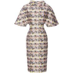 Carolina Herrera Marble Jacquard Dress ($2,890) ❤ liked on Polyvore featuring dresses, white jacquard dress, white pencil dress, pencil dress, white short sleeve dress e carolina herrera