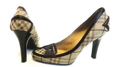 BURBERRY NOVA CHECK BROWN LEATHER PUMPS HEELS