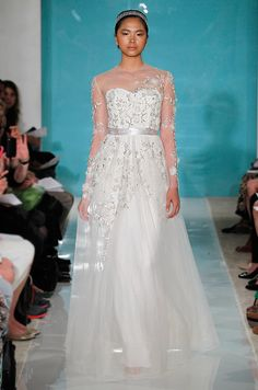 Reem Acra wedding dress with sleeves, Spring 2013