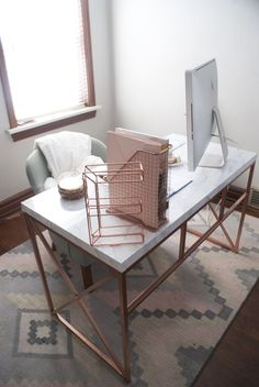 Office Space // Rose Gold + Marble Desk DIY // Wayfair desk hack via fox and gypsy