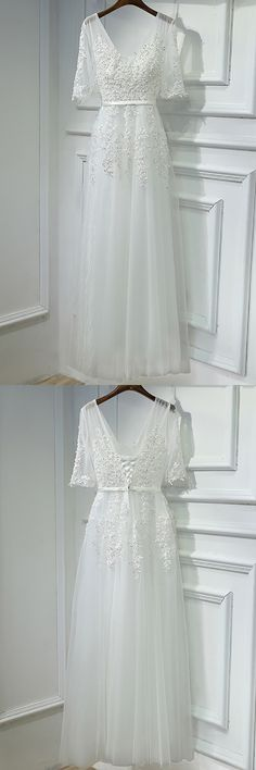 Only $118, Prom Dresses Elegant Long White Lace Prom Formal Dress V-neck With Sleeves #MYX18021 at #GemGrace. View more special Prom Dresses,Evening Dresses now? GemGrace is a solution for those who want to buy delicate gowns with affordable prices, a solution for those who have unique ideas about their gowns. 2018 new arrivals, shop now to get $10 off!